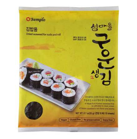 Roasted Seaweed Sushi-Nori 10 blad (20g) Sempio